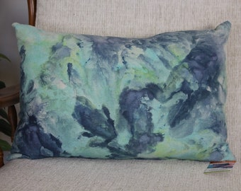 Handcrafted Ice Dyed Cushion - Navy/ Aqua