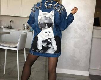 Hand painted denim jacket lagerfeld - vogue embroidered jacket