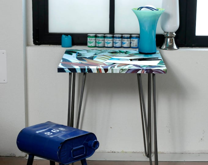 Blue Tropical Square Table