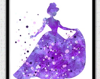 Cinderella print, Disney princess, Princess painting, Princess watercolor, Bright Colors, Nursery Decor, Silhouette Art, Watercolor Print