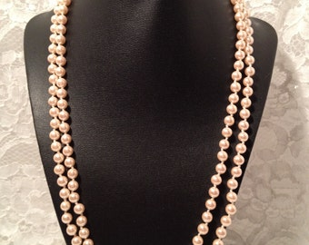 Vintage Double Strand Faux Pearls, Uniform Size Pearls in 11 and 11 1/2 Inch Strands, Ivory Color Faux Pearls.