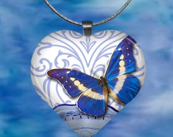 Blue butterfly Heart Pendant with chain(Bu1.4)