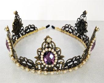 Renaissance Tiara, Crown, Medieval, Renaissance Jewelry, Tudor, Headpiece, Headdress, Renaissance Crown, Anti Brass, Pearls, Ready 2 Ship