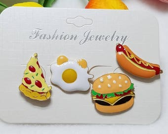 Food pin set of 4. Enamel pins. Gifts. Foods