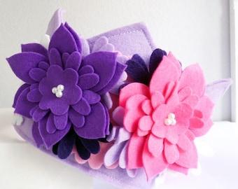 Felt Crown, Girl First Birthday Outfit, Crown and tiaras, smash cake crown, crown headband, Princess crown, Purple Flower Crown