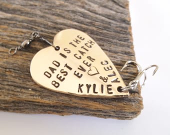 Gift for Dad Fathers Day Gift Personalized Fathers Gift for Daddy Best Catch Ever Engraved Dad Birthday Fishing Lure Husband 1st Fathers Day