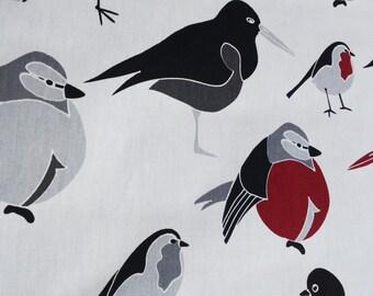 Tablecloth white grey burgundy red black Birds Modern Scandinavian Design , runner , napkins , pillow , curtains available, great GIFT