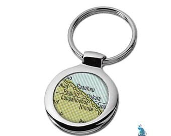 Map Keychain Hawaii Laupahoeshoe Key Ring Fob