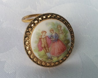 Vintage Limoges Fragonard Milk Glass Scarf Clip West Germany - Courting Couple