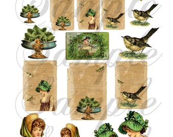 Shades of Green Collage sheet