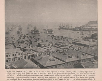 Valparaiso, Chile Print of 1892 Photo. Photographs of Famous Scenes by Charles H. Adams, Original, Vintage