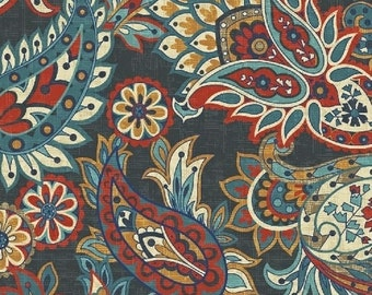 Navy Paisley Cotton Fabric from the Kashmir Collection by Rosemarie Lavin for Windham Fabrics