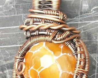 Copper Wire Wrapped Orange Fire Agate Heady Pendant by Rebecca Weber