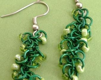 Ever Green  Beaded Shaggy Loops Earrings