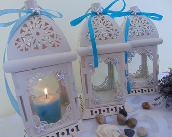 Set of 10 STARFISH White Moroccan Lanterns,Nautical Wedding,White Lantern,Brass Lantern, Wedding Centerpiece,Beach wedding decor,shabby chic