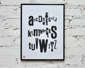 Black & White alphabet - letterpress poster