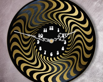 Record vinyl two layered black & color clock / / psychedelic