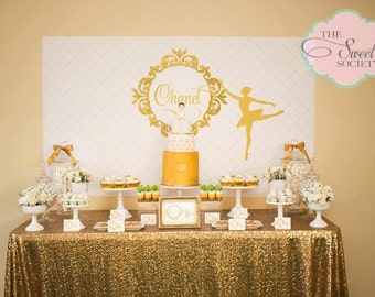 GLITTERY GOLD BALLERINA Printable Party Backdrop - you print