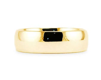 7mm  14k Yellow Gold Band // Plain Classic Shiny Comfort Fit Wedding Band // Simple Men's Women's Ring // All Sizes // High Polish Finish
