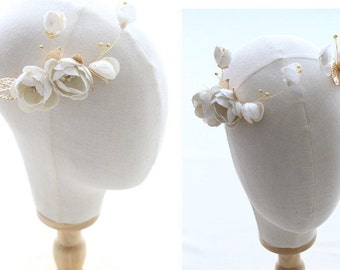 Wedding Hair Pin Set, Floral Hairpiece, Ivory Flower Golden Leaf Hair Pin, Gold, Ivory Off White Ribbon Flower Hair Accessory