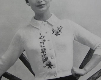 Knit Sweater Pattern - Vintage 1960's Cardigan Sweater PDF Pattern 733-6