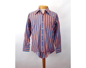1970s men's shirt striped shirt blue orange Golden Vee New Old Stock Permanent Press Size 15 neck 33 sleeve Medium