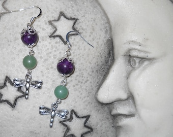 Petite Sliver Dragonfly w/ Agate & Jade dangle earrings