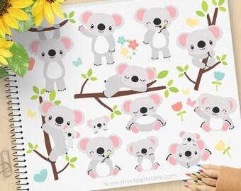 Koala Bears Clipart, Australian Bear, cute little koala, woodland animals, Spring flowers, Commercial Use, Vector clip art, SVG Files