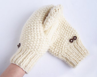 Ivory wool mittens for adult woman man teens unisex White Winter gift Warm and cozy Medium size M L XL