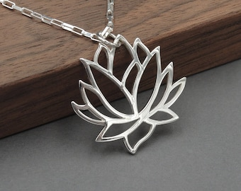 Lotus Flower Necklace - Silver Lotus Necklace, gift for her, yoga jewelry, lotus jewelry, mothers day gift, sterling silver necklace