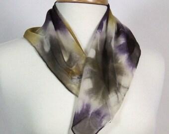 Hand Dyed Bandana Scarf  Silk Chiffon Shibori Gold Brown Purple Khaki Green