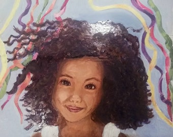 Amara, painted on wood, surreal, Pop Art, portrait, child, little one, Asian child, Painting, Original, Acrylic, approx 12 x 14