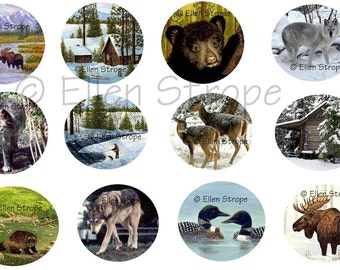 STICKERS, Envelope Seals, Animals, Cabins, Loons, Art, Ellen Strope, Repositionable adhesive, gifts, Fun stickers
