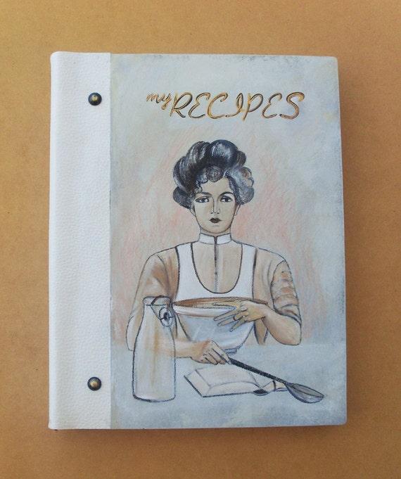 RECIPE BOOK, Personalized Recipe Book, Recipe Book Wood, Recipe Book Vintage, Blank Recipe Book, Kitchen Decor, Handmade and Hand Painted