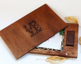 Love Box Wood Photo Box 4''x6''10x15 cm USB Box Valentines Day Gift Photographer Packaging Photo Album Photo Box Gift For Him Boyfriend Gift