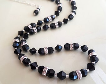 Handmade Black Swarovski crystal and clear diamante necklace- Sterling Silver