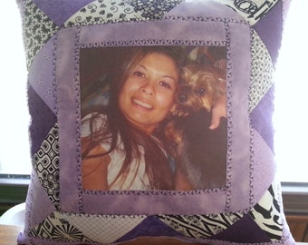 patchwork memory photo pillow