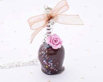 chocolate toffee Apple gourmet gem necklace