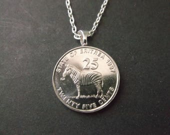 """Eritrea Wildlife Series Coin Necklace - Eritrea Zebra 1997 """"25"""" Coin Pendant"""