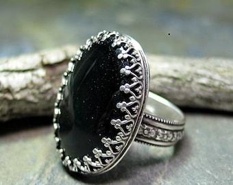 Black Onyx Ring filigran Lünette Sterling Silber Blume Band Garten Schmuck - Midnight Garden