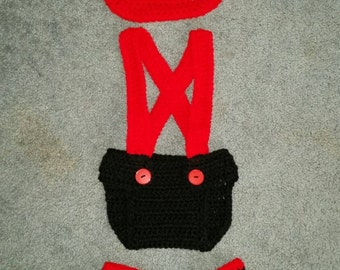 Fireman Crochet Newborn Set