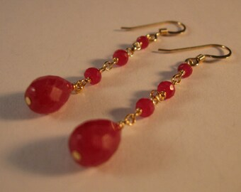 Ruby Earrings, gemstone earrings, ruby earrings, gold earrings, gold gemstone earrings, ruby jewelry, drop earrings, dangle earrings, ruby