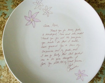 Personalized Gifts (2), Your Word Wedding, Thank-you, Parents Gift, Love Letter, Two - Cake Plates with glazed flowerServing