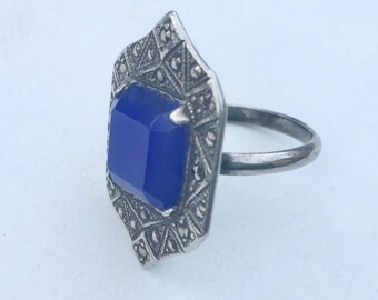 antique sterling, marcasite, and blue glass ring, size 5.75