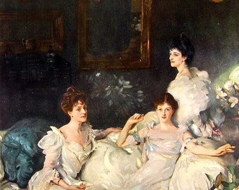 Fine Art Print - The Wyndham Sisters by Sargent - Masterpiece Painting - Reproduction Print - 12 x 10
