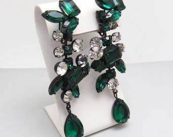 Long Rhinestone Earrings Green Kenneth Lane KJL Jewelry