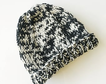Kids Basic Two-Toned Knit Wool Hat Beanie Toque in Gray, Blue, Brown, and Black