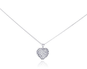 "16+2"" Sterling Silver CZ Stone Set Filigree Heart Locket Pendant Necklace(plstp00251)"