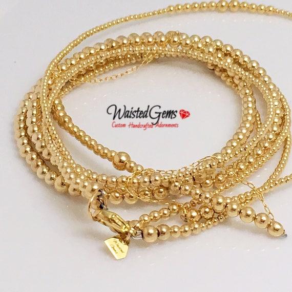 14k Gold Double Strand Waist Bead Set, Wedding Gift, Gold Waist bead, African Waist Beads,  zmw221.9