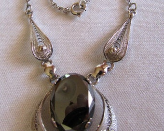 Sterling Silver and Faceted Hematite Necklace